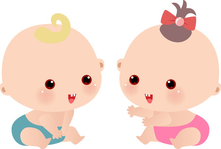 Vector illustration of little baby boy and a baby girl