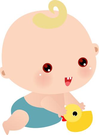 Vector illustratie van kleine jongen met zijn speel goed