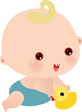 animate: Vector illustration of little boy with his toy Illustration