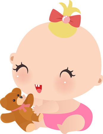 Vector illustration of little girl with her taddy  Vector