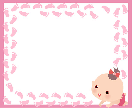 Illustration of a cute little baby girl and frame