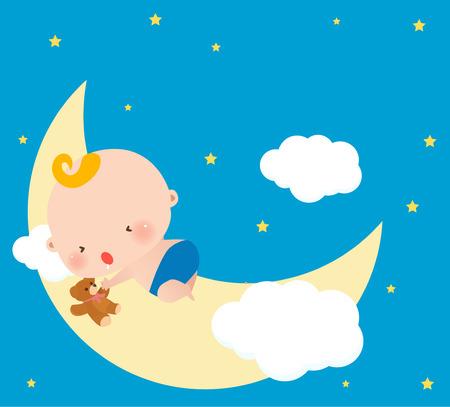 Abbildung eines kleinen Babys schlafen auf Mond