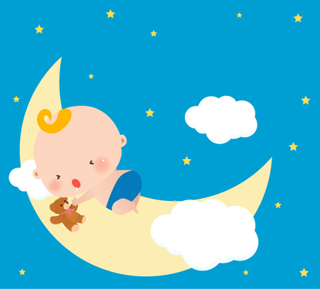 baby sleeping: Illustration of a little baby sleeping on moon