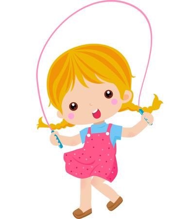 saltar: Ilustración de una bonita niña saltando