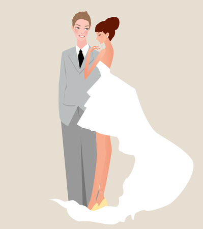 standing reception: Illustration of happy bride and groom Illustration