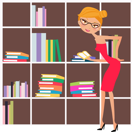 shelf with books: Illustration of a fashion girl reading book