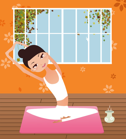 Illustration of a beauty girl doing  yoga Stock Vector - 8039373
