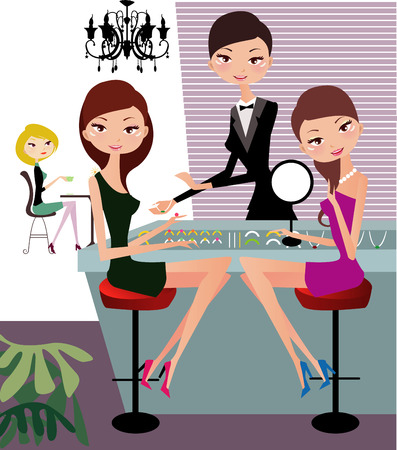 jewelry store: Illustraon of  fashion women shopping for jewelry