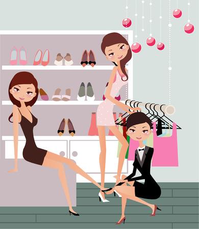 Illustraon van drie mode vrouwen winkelen voor schoen