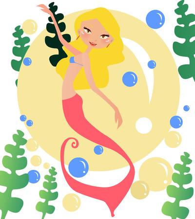 Illustration of a beauty mermaid dancing-girl Vector