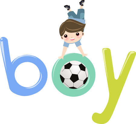 phonics: illustration of the word boy  Illustration