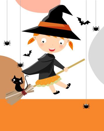 Halloween card with little witch Stock Vector - 9775314