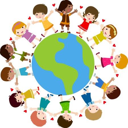girotondo bambini: Bambini in tutto il mondo  Vettoriali