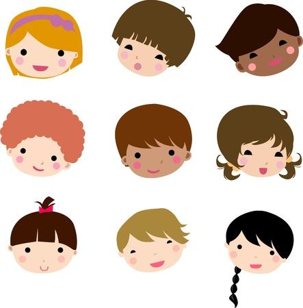 Conjunto de rostros de niños