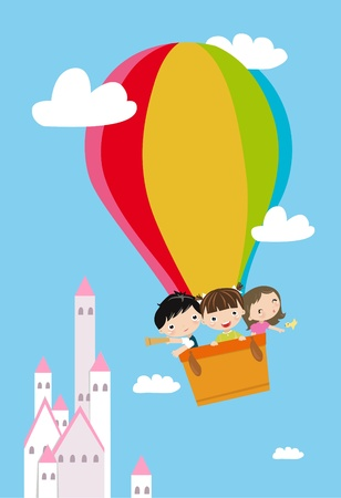 man in air: children and hot balloon