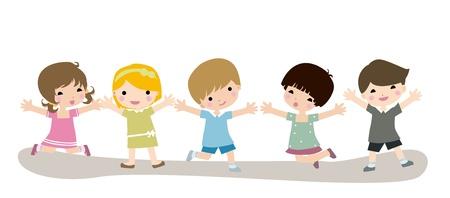 Children Jumping  Stock Vector - 8887086