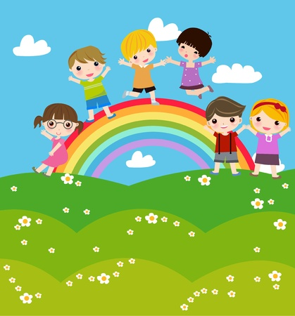 kids holding hands: Illustration of cute group of children and rainbow Illustration