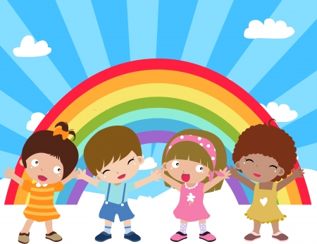 boy and girl holding hands: Illustration of cute group of children and rainbow Illustration