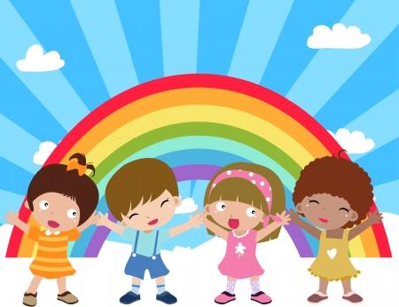 Ilustración de lindo grupo de niños y arco iris Foto de archivo - 8887124