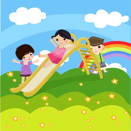 illustration of kids on a white background  Vector