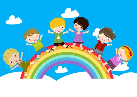 Children on Rainbow  Stock Vector - 8887122