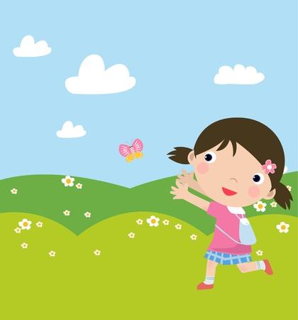 일러스트 레이션 걷는 귀여운 소녀와 butterly