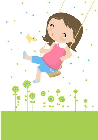 Illustraon of  a cute happy little girl swinging  矢量图像