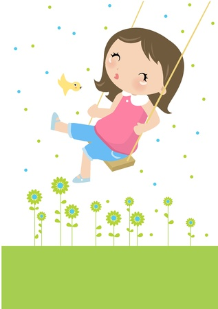 Illustraon of  a cute happy little girl swinging  Vector