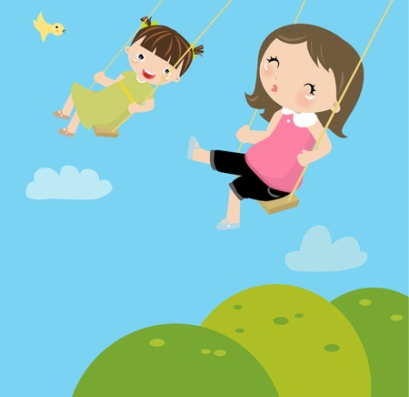 girls on a swing Stock Vector - 9775333