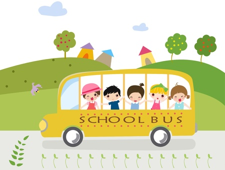 elementary age: Cartoon school bus with kids - illustration.