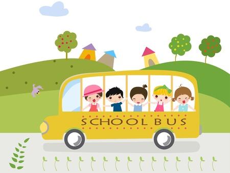 transporte escolar: Dibujos animados autobuses escolares con ni�os - ilustraci�n.