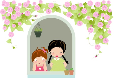 daydreaming: two girls Illustration
