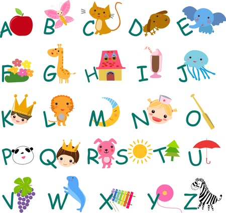 english alphabet: alphabet with pictures  Illustration