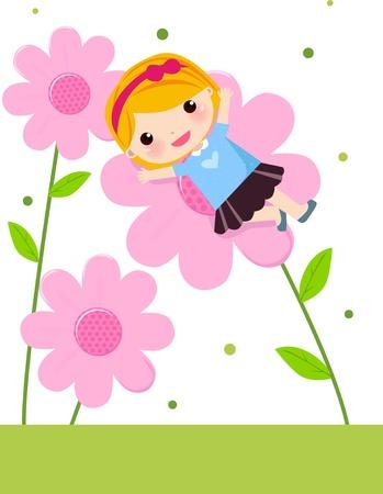 Illustration of a cute flower fairy girl lying flower Stock Vector - 8887123