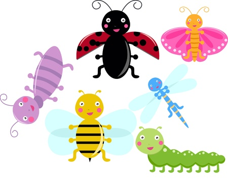 Illustration of cute group of insects set  Vector