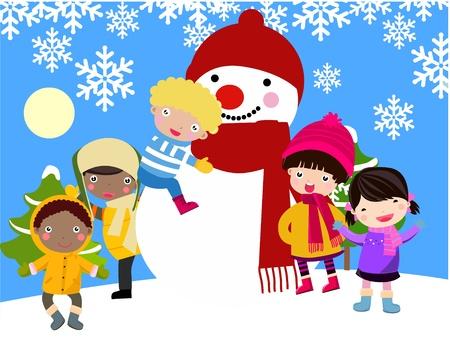 winter fun: Wenskaart. Gelukkige jonge geitjes en sneeuwpop vieren Kerstmis.