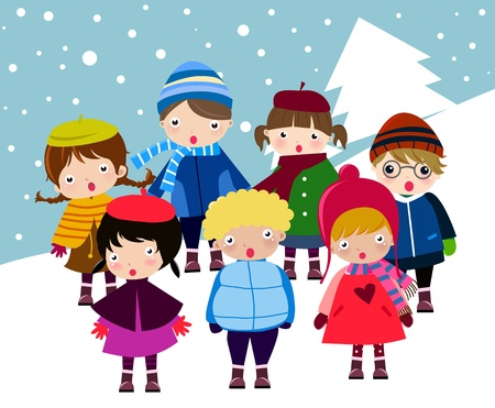 seasonal clothes: happy children  Illustration