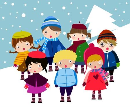 seasonal: happy children  Illustration
