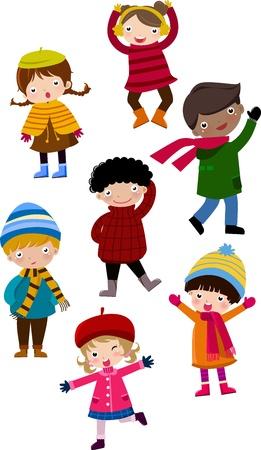 sueteres: Ilustraci�n de la gente de invierno de dibujos animados lindo, ni�o y ni�a Vectores