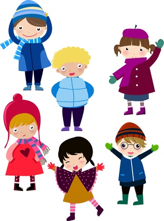 cute girl cartoon: Illustration of cute cartoon winter people,boy and girl  Illustration