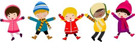 winter vacation: happy children  Illustration