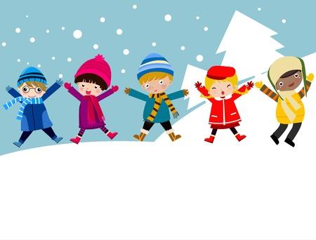 winter party: Illustrazione di un gruppo di ragazzi e ragazze