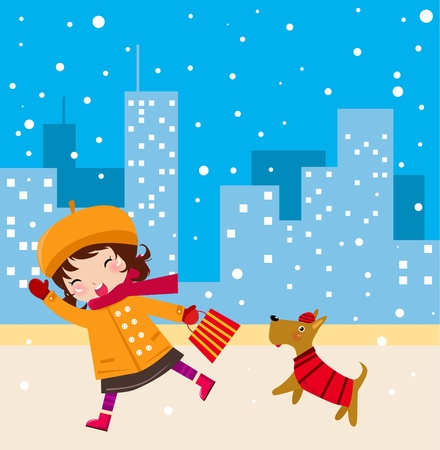 Illustraon of  a cute girl walking with dog in winter  Vector