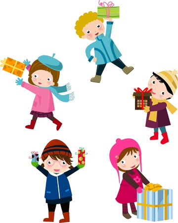 Illustration of cute group of children  and gift box Vector