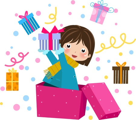 cartoon present: Little girl in pink costume with a gift isolated  Illustration.