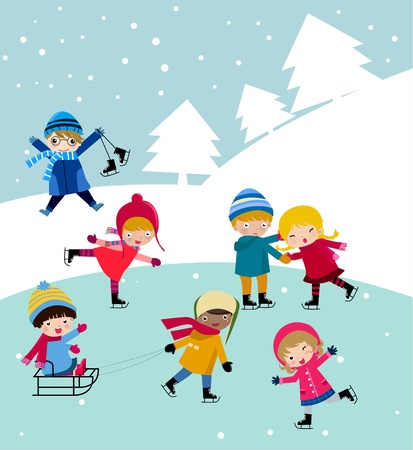 winter vacation: Illustration of cute group of children  skiing Illustration