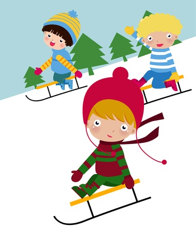 Illustration of cute group of children  skiing Vector