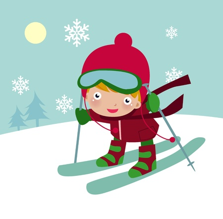 winter sports: Illustration of a cute boy with red hat skiing