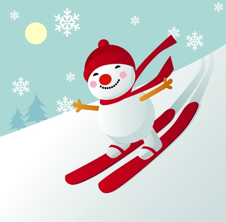 carrot nose: Illustration of a cute snowman with red hat skiing