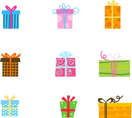 red gift box: illustration of 9 different gift boxes with ribbon  Illustration